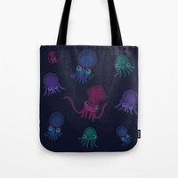 squid Tote Bags featuring Squid by Steph Chen