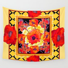 RED POPPIES DECORATIVE FLORAL ABSTRACT Wall Tapestry