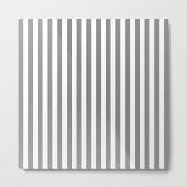 White Gray Stripes Pattern Metal Print