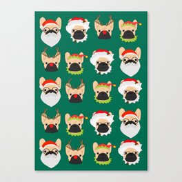 Xmas Bulldogs Canvas Print