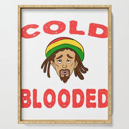 """A Nice Icy Tee For Cold Persons Saying """"Cold Blooded"""" T-shirt Design Reggae Mexican Tacos REd Serving Tray"""