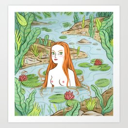 Lady of the pond Art Print