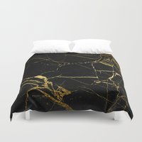 black and gold Duvet Covers featuring Black & Gold by Coconuts & Shrimps