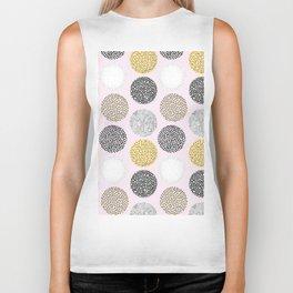 Yellow, White, Gray, Pink and Black Circle Print Biker Tank