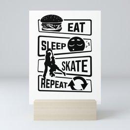 Eat Sleep Skate Repeat - Figure Skating Winter Ice Mini Art Print