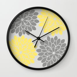 Big Grey and Yellow Flowers Wall Clock