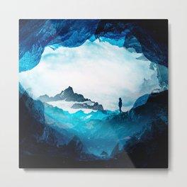 Figure Silhouette Blue Misty Mountains Metal Print