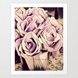 blush roses, lilac living, lilac floral, floral decor Art Print
