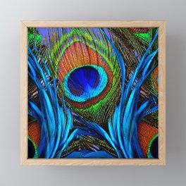 ABSTRACT DECORATIVE BLUE PEACOCK FEATHER ART Framed Mini Art Print