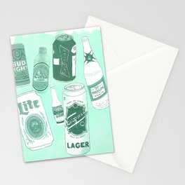 Vacation beers in mint green Stationery Cards