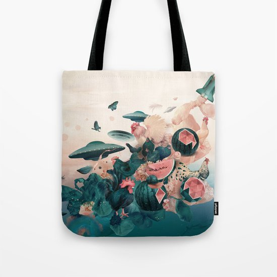 Watermelon&Black cock Tote Bag