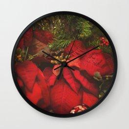 Red Poinsettia Wall Clock