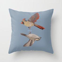 cardinal and sparrow Throw Pillow