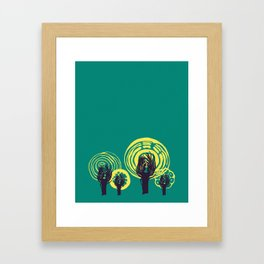 Adorned Salad Forest in Teal, Yellow and Midnight Blue Framed Art Print