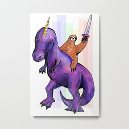 sloth dinosaur unicorn Metal Print
