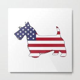 "Scottish Terrier ""American Flag"" Metal Print"