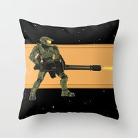 master chief Throw Pillows featuring Master Chief by Arnix