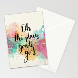 Oh the places you will go Quote Stationery Cards