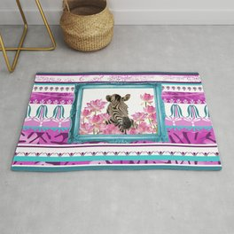 Turquoise Frame - Zebra with Lotos Flowers Rug