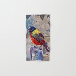 Painted Bunting Bird on Newsprint Hand & Bath Towel