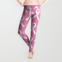 Breast Cancer Awareness Ribbons - Pink & White Leggings