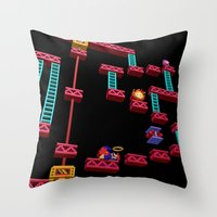 donkey kong Throw Pillows featuring Inside Donkey Kong stage 3 by Metin Seven