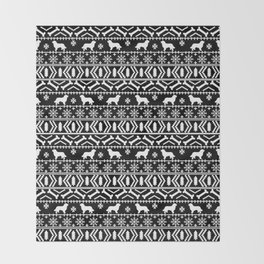 Bernese Mountain Dog fair isle christmas black and white pattern holiday dog breed gifts Throw Blanket