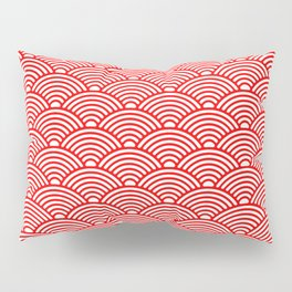 Japanese Waves (Red & White Pattern) Pillow Sham