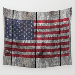 USA flag - on grainy wood Wall Tapestry