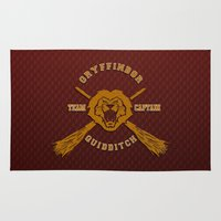 gryffindor Area & Throw Rugs featuring Gryffindor quidditch team iPhone 4 4s 5 5c, ipod, ipad, pillow case, tshirt and mugs by Three Second