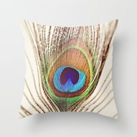peacock Throw Pillows featuring Peacock by Laura Ruth