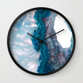 Blue Crystal Slice Wall Clock