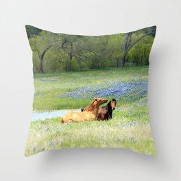 Horses & Bluebonnets Throw Pillow