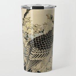 Hokusai -falcon next to a plum tree in bloom - 葛飾 北斎,hawk,bird. Travel Mug