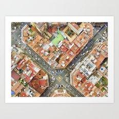 Aerial vieof Barcelona Art Print