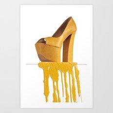 Dripping Yellow Shoe Art Print