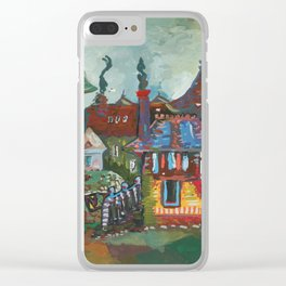 Little animated city Clear iPhone Case