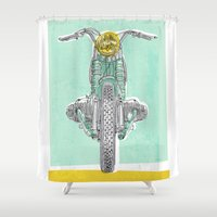 moto Shower Curtains featuring Vintage BMW Motorcycle by Matylda Mcilvenny