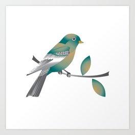 Teal and Gold Bird on a Tree Limb Art Print