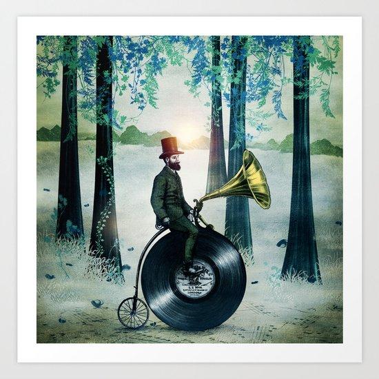 Music man in the woods by Eric Fan & Viviana González Art Print