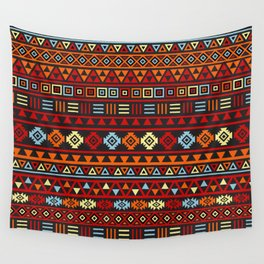Aztec Influence Ptn IV Orange Red Blue Black Yellow Wall Tapestry