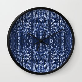 197 - Blue Sequins abstract design Wall Clock