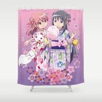 madoka magica Shower Curtains featuring Madoka Kaname & Homura Akemi - Love Yukata edit. by Yue Graphic Design