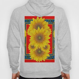 RED-TEAL DECO YELLOW SUNFLOWERS ART Hoody