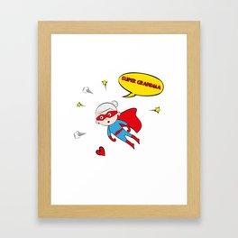 Flying Super Grandma Framed Art Print