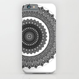 Grey scale mandala - symmetrical illustration iPhone Case