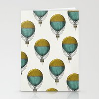 hot air balloons Stationery Cards featuring Hot Air Balloons by Juste Pixx Designs