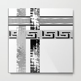 Creative Black and white pattern . The braided belts . ( men's , unisex) Metal Print