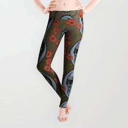 Skulls and Poppies - Red, Blue, Green - Halloween Vintage Theme Leggings