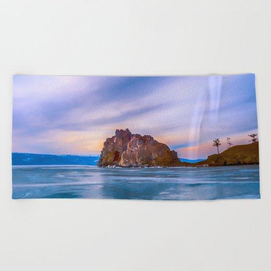 Shaman Rock, lake Baikal Beach Towel